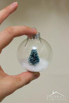 Make your own miniature snow globe Christmas ornament!