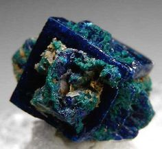 Boleite covered with vivid blue Cumengite and green Paratacamite. From Amelia Mine, Santa Rosalia, Baja Sur, Mexico Minerals And Gemstones, Rocks And Minerals, Mineralogy, Beautiful Rocks, Mineral Stone, Rocks And Gems, Stones And Crystals, Oeuvre D'art, Summer Street