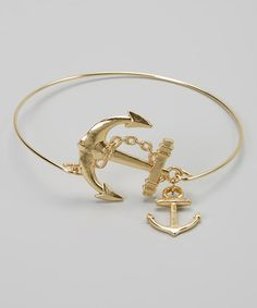 This Goldtone Anchors Bangle by Bubbly Bows is perfect! #zulilyfinds