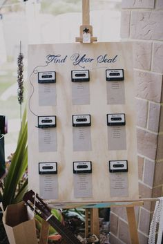 Cassette wedding seating chart for Rock & Roll wedding. More music seating plans at http://www.toptableplanner.com/blog/a-wedding-table-plan-that-is-music-to-your-ears