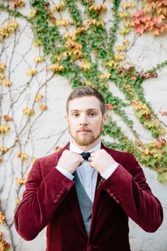 A dapper groom's suit: http://www.stylemepretty.com/2014/12/11/pantone-2015-marsala-wedding-inspiration/