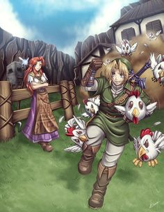 Link helping Malon on Lon Lon Ranch
