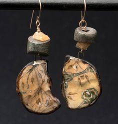 Grandma's Tattered Wallpaper earrings by WillowStudioJewelry