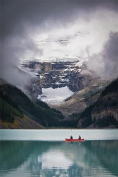 Canoeing on beautiful Lake Louise in Alberta Canada (photo by Jeff Pang)
