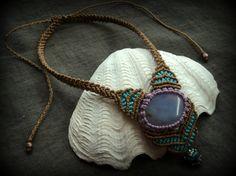 Chalcedony butterfly dream macrame necklace by MareterraeArt