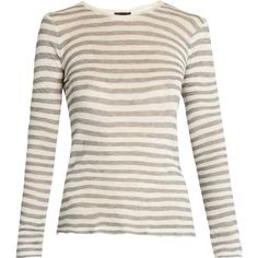 ATM Distressed long-sleeved striped T-shirt found on Polyvore featuring tops, t-shirts, long sleeve white t shirt, white stripes t shirt, distressed tee, destroyed t shirt and ripped t shirt