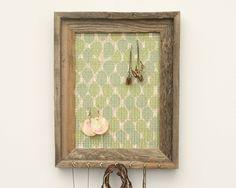 Rustic Leaves Barnwood Jewelry Holder - Green & Blue - 9 x 12. $39.00, via Etsy.