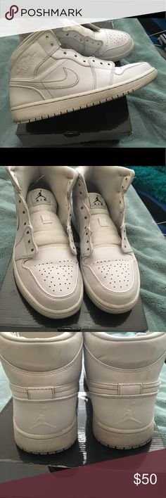 Air Jordan 1 Men's Air Jordan 1  -size 9 -color: white -original laces included, no box -9/10 condition  -send any offers/questions Air Jordan Shoes Sneakers