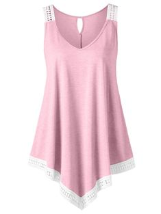 2a0c35b0c45 On Sale Clearance Women Tank Top Cuekondy Summer Casual V-neck Swing Lace  Asymmetrical Solid Sleeveless Vest Blouse T-shirt (Pink