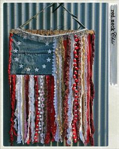 Handmade Denim, Flowing Ribbons & Lace Flag * She's a Grand Old Flag * USA Proud * Red, White & Blue * DIY Wall Hanging Craft Inspiration * of July Fab * Perfect use for vintage denim, fabrics, ri Americana Crafts, Patriotic Crafts, July Crafts, Holiday Crafts, Fourth Of July Decor, 4th Of July Decorations, July 4th, Doorway Decorations, Wall Hanging Crafts