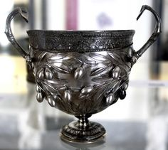 A sterling-silver (?) goblet (?) from Pompeii, Menander's House. Region I, Insula 10, Entrance 4 (I.10.4).