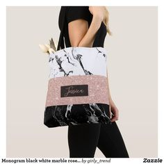 Monogram black white marble rose gold stripes tote bag - black and white gifts unique special b&w style Striped Tote Bags, Printed Tote Bags, Black Tote Bag, Glitter Gifts, Gold Glitter, Funny Gifts For Women, Monogram Tote Bags, Monogram Gifts, Black And White Marble