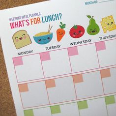{Free Printable} Weekday Lunch Planner — Hello, Cuteness!