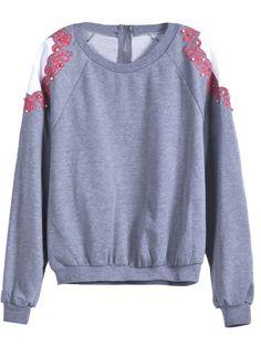 Grey Long Sleeve Embroidery Loose Sweatshirt US$29.61