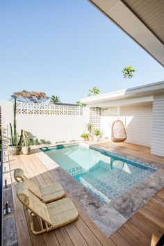 outdoor oasis backyard with pool / outdoor oasis backyard . outdoor oasis backyard with pool . outdoor oasis backyard on a budget Backyard Pool Designs, Small Backyard Pools, Small Pools, Swimming Pools Backyard, Backyard Landscaping, Swimming Pool Designs, Landscaping Ideas, Small Swimming Pools, Pool And Patio
