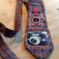 Fabric collage vintage inspired camera tie