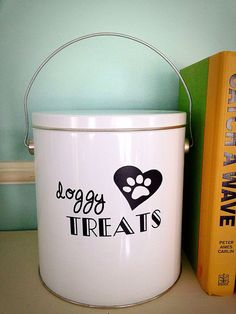 Dog Treat Container by TheBeesKneesWorkshop on Etsy
