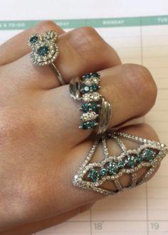 Betty Blue Rings! #blue #beautiful #coloreddiamonds #rings #AlbertoCollections #Alberto