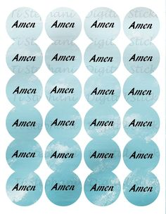 Amen Foamy Ocean Sticker, 24 Stickers, Digital Round Images 1 2/3 inch circle, Amen Series for Planner, Jewelry, Scrapbooking and Crafts by TiStephani on Etsy