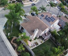 Aerial view of a solar panel installation