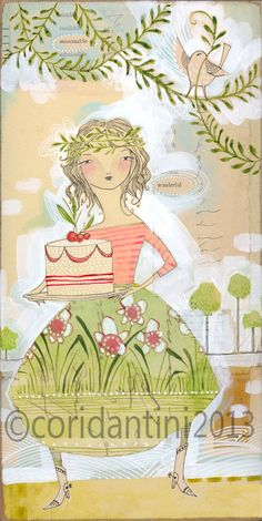 watercolor portrait of a lady with a cake - a 5 x 10 inch limited edition - archival print - by cori dantini