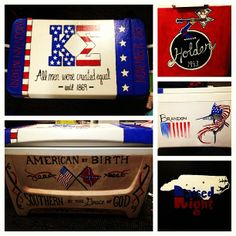 Kappa Sigma Fraternity Mountain Weekend Painted Cooler - America Themed, Southern, Hennessy, Guy Harvey, Raised Right Fraternity Coolers, Frat Coolers, Formal Cooler Ideas, Bubba Keg, Greek Crafts, Diy Cooler, Crafty Craft, Crafting, Cooler Painting