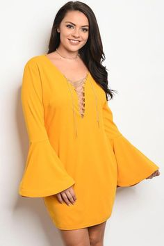 86d4f863db1 Women Plus Size Mustard Yellow Long Bell Cuffs Sleeves Fitted Bodycon Dress  Party Fitted Midi Dress