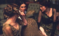Laura Carmichael, Jessica Brown-Findlay and Michelle Dockery during the filming of Downton Abbey
