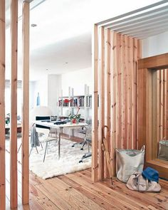 Minimalist House with Natural Wood Elements: Beams Room Divider in ...