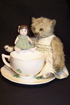 My Wonderful Bear & Her dolly & Tea Cup. Bear & Doll made by the Talented Brenda Power .....