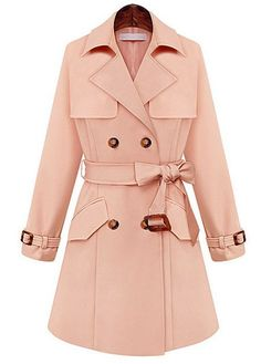 Beautiful Turndown Collar Pink Trench Coat with Belt