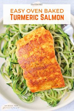 Turmeric Salmon -- this oven baked salmon recipe is so healthy and easy minutes is all it takes)! Marinated in a turmeric and lemon sauce, it's so full of flavor. Plus, it's a power duo of health benefits (anti-inflammation and more! Baked Salmon Recipes, Seafood Recipes, Dairy Free Recipes Healthy, Sauce Recipes, Clean Eating Recipes, Healthy Dinner Recipes, Lunch Recipes, Oven Baked Salmon, Baked Fish