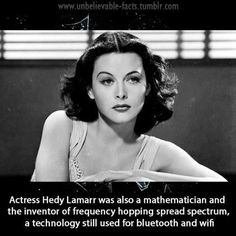 Brilliant and Beautiful. Actress Hedy Lamarr was also a mathematician and the inventor of frequency hopping spread spectrum, a technology still used for bluetooth and wifi. Thanks to LGBT Equality World Wide for the share! Great Women, Amazing Women, Smart Women, Classic Hollywood, Old Hollywood, Hollywood Glamour, Hollywood Stars, Rebecca West, Gene Kelly