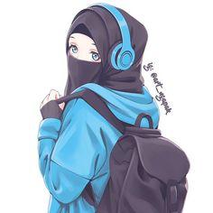 A scarf is the most essential part inside outfits of females having hijab. Because it is a vital addition of Manga Anime Girl, Cool Anime Girl, Anime Girl Drawings, Anime Neko, Kawaii Anime, Cute Cartoon Girl, Cartoon Art, Hijab Drawing, Islamic Cartoon