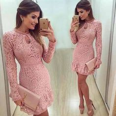 lacy pink boutique cocktail dress Super cute and flirty boutique cocktail dress with lining and pink lace overlay. Zipper closure. 30 inches from neck to hem, 28 inch waist. Fits a size small☺️ worn just for a rehearsal dinner Dresses Long Sleeve