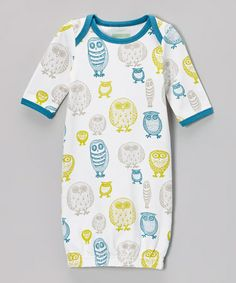 Take a look at this White & Blue Owl Organic Gown - Infant by Nohi Kids on #zulily today!