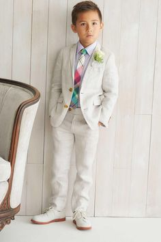 Dress your dapper son in a sharp suit for Easter or any special occasion this spring! Boys First Communion Outfit, Boy Baptism Outfit, Christening Outfit, Communion Suits For Boys, Toddler Suits, Toddler Boy Outfits, Kids Outfits, Little Boy Fashion, Kids Fashion