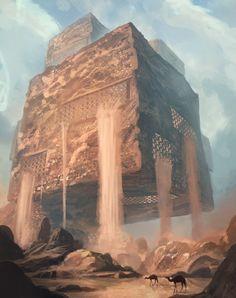 Magnificent dreamlike visuals by artist Leon Tukker. Fantasy City, Fantasy Places, Sci Fi Fantasy, Fantasy World, Dark Fantasy, Environment Concept Art, Environment Design, Fantasy Landscape, Landscape Art