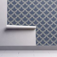 Tangier in Indigo Linen wallpaper - willowlanetextiles - Spoonflower