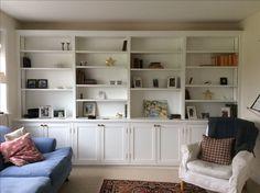 Bookshelves, built in storage Cottage living