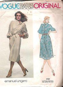 Dress One Piece Vogue UNGARO Sewing Pattern 1721 Size 8 Bust 31 5 Hip 33 5 Uncut | eBay