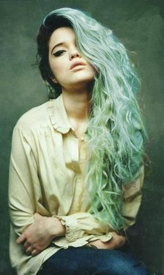 Teal with black roots