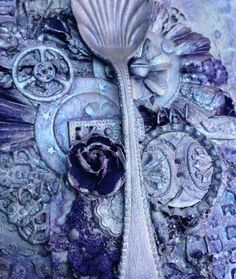Mixed media spoon canvas 2 @isblueart @createcraftau Create And Craft, Medium Art, Mixed Media Art, Canvas, Spoon, Crafts, Tela, Manualidades, Canvases