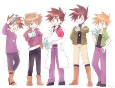 Gary Oak Pokemon Manga, Pokemon Fan Art, Pokemon Stuff, Pokemon People, Pokemon Ships, Pokemon Mignon, Gary Oak, Green Pokemon, Pokemon Pictures