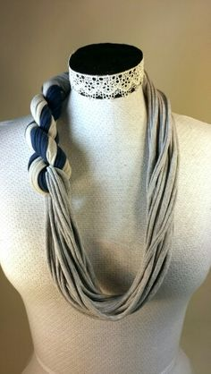 Recycled fabric statement necklace tshirt yarn scarf
