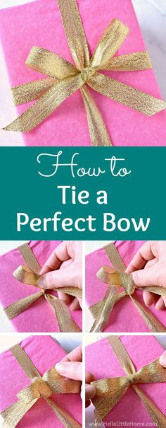How to Tie a Perfect Bow … step by step tutorial with video! Learn how to tie a bow with ribbon for gifts, wreaths, hair ... anything! In this easy tutorial, you'll learn how to tie a simple bow around a box. These pretty bows are perfect for wrapping holiday presents and for Christmas decorations around your home. Once you know how to make DIY bows you never give a plain gift again! | Hello Little Home #bowtutorial #howtotieabow #RibbonBow #ribbonbowdiy #diybow #giftwrapping…