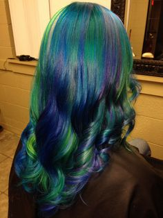 green and blue ocean hair. www.ursulagoff.com  Stuff that Urs does. Mostly rainbow-izing exploits.