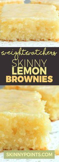 Skinny Lemon Brownies – lemon bars Recipe Skinny Lemon Brownies with only 3 Weight Watchers Smart Points Weight Watcher Desserts, Weight Watcher Dinners, Weight Watchers Cake, Weigh Watchers, Dessert Ww, Ww Desserts, Dessert Recipes, Cake Recipes, Dinner Dessert