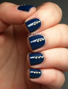 The Nailasaurus | UK Nail Art Blog: Barry M Blue Plum with Studs
