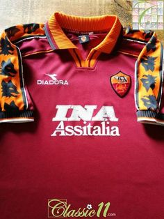 Official Diadora Roma home football shirt from the season. Retro Football, Football Kits, Football Jerseys, As Roma, Sports Shirts, Champions League, A Team, Soccer, Sweatshirts